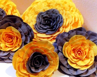 6 giant paper Flowers large Sunflower Wedding wall photo backdrop Decor Nursery bridal baby shower Table decor Rustic Centerpiece home wall