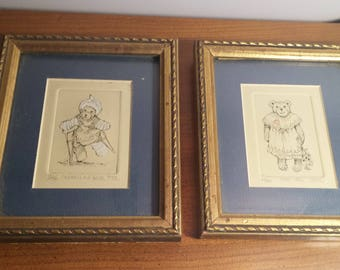 Signed Numbered Pair of Illustrated Bear Picture Art Wall Hangings under glass Clumsy Old Bear and For You signed P.T.L. whimsical wall art