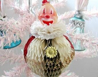 Vintage Honeycomb Circus Clown Christmas Ornament