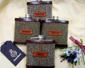 Set of four personalised Groomsman gifts with names Harris Tweed hip flasks,  leather labels Scottish luxury gift for groomsmen, fathers etc