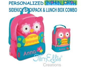Personalized Stephen Joseph OWL Sidekick Backpack and Lunch Pal Combo, Kids Backpack, Kids Lunch Box.