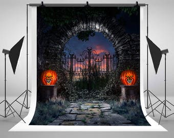Halloween Pumpkins Arched Stone Gate Garden Photography Backdrops No Wrinkles Newborn Baby Photo Backgrounds for Children Studio Props