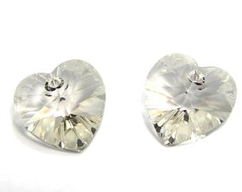 2 pc Swarovski Heart Pendants 14x14 mm (6228/6202) - Crystal Silver Shade