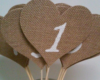 Burlap Hearts Table Numbers, Rustic Wedding Table Numbers, Baby Shower, Bridal Shower Table Numbers