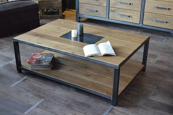 Table basse bois vieilli sur mesure meuble industriel for Table basse vieilli
