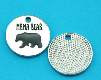 Mama Bear Stainless Steel Charms - 20mm-Mother Charm | Mom Charm  | DIY Jewelry Supply | Ready to Ship- Quantity Options--G1888