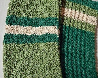 Green Dishcloths, Knit Dishcloths, Knitted Dishcloths, Kitchen Cloths, Knit Dishrags, Striped Dishcloths