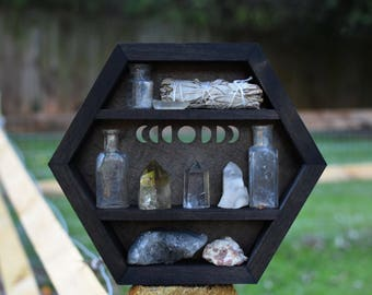Moon Phases Hanging Hexagon Display Box