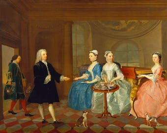 A Family Being Served with Tea. Fine Art Print/Poster. (4807)