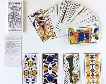 Tarot cards. Vintage French tarot cards. Old tarot cards. Fortune telling cards. Marseille tarot cards. Vintage tarot cards by Paul Marteau.