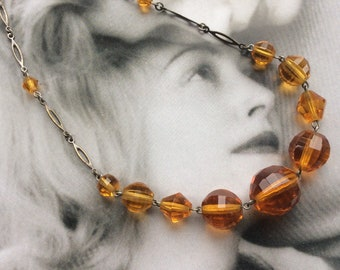 Vintage Art Deco Amber Glass Crystal Necklace