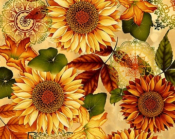 Cream Sunflower Fabric Yardage. Welcome Harvest Henry Glass. Holiday Fabric. Fall Fabric. Fall Quilt Fabric. Fall Floral Fabric. Sunflowers.