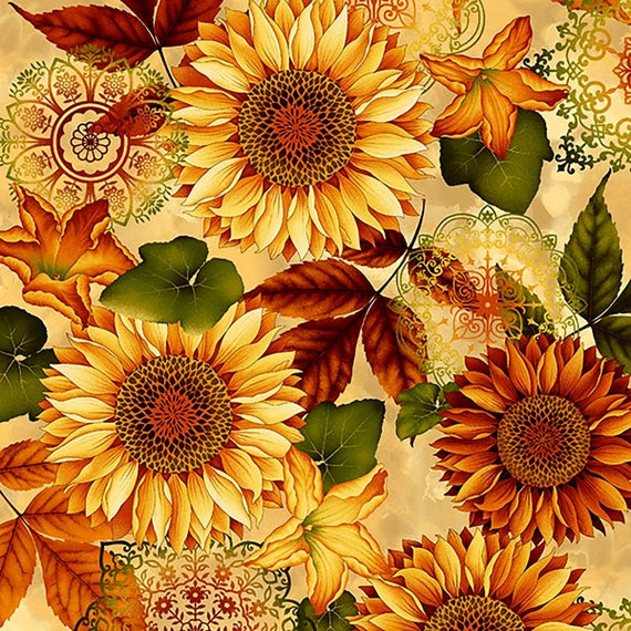 Cream Sunflower Fabric Yardage Welcome Harvest Henry