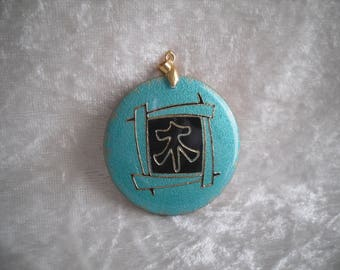 pendant, turquoise/black/gold, Japanese kanji, creating jewelry.
