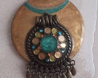Gold turquoise sand Bohemian pendant bronze, handmade, wood and metal
