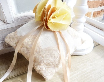 Lace and linen - shades of yellow/amber wedding ring cushion