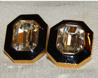 ON SALE: Last Chance - Vintage Trifari Earrings - Gold, Black, and Crystal, 1970s or 1980s