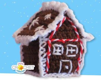 Crochet Gingerbread House Ornament PATTERN - PDF - Tree Ornament, Tiny Village