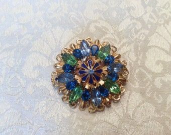 Green Blue Crystal Rhinestone Gold tone Pin Brooch