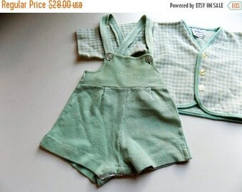 50s 60s Overall Set, Cardigan, Overalls, Shortalls, Mint Green, Princess Pat, Baby Set, Baby Clothes, Vintage Baby, Mid Century, Size 3 mos
