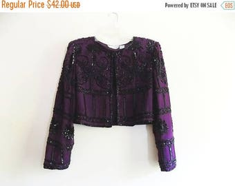 80s Sequin Jacket, Cropped Jacket, Bolero, Plum, Purple, Black, 1980s, Lawrence Kazar, Size Large, Special Occasion, Blazer, Womens Vintage