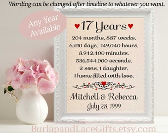 17th Anniversary Gift to Wife Anniversary Gift to Husband Anniversary Gift for Wife Anniversary gift for Husband Gift Wife  (ana207-17)