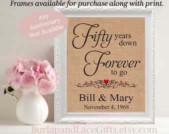 50th Wedding Anniversary Gift to Wife Golden Anniversary Gift to Husband Gift from daughter Gift from son 50 years framed gift (208)
