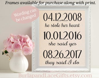 2nd Anniversary The First Day, The Yes Day, The Best Day  Personalized Wedding Dates Personalized Wedding Gift to Wife Gift Husband (ana103)