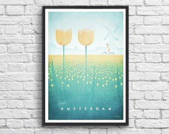 Affiche Art-Poster 50 x 70 cm - Amsterdam Travel Poster
