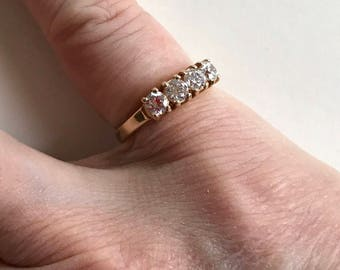 Gold-tone CZ Ring -- 1