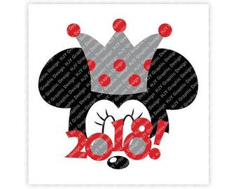 Disney, New Years, 2018, Sunglasses, Top Hat, Minnie, Mickey, Mouse, Head, Ears, Digital, Download, TShirt, Cut File, SVG, Iron on, Transfer