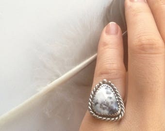 Black Frost Dendritic Opal Statement Ring || size 3, rose cut natural stone, grounding, protection