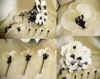 Bridal bouquet, boutonniere, hair, feathers, Orchid pins black-and-white to customize
