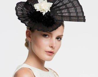 Headdress, black and white fascinator.
