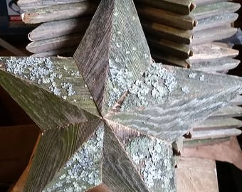 12 inch wooden lichen star made from reclaimed wood