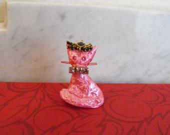 Kundan Cat Pendant, Bejeweled Rhinestone Kitten