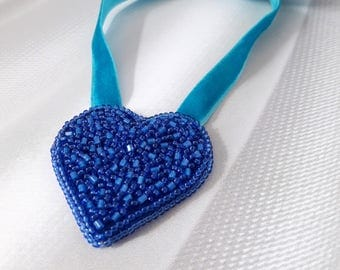 Blue heart necklace Gift under 15 for her Tiny girl friend gift Dainty heart pendant heart tender necklace Embroidered cute heart pendant