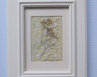 Handmade Vintage Textile Flower and Embroidery Mixed Media Picture