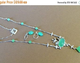 33% Off Christmas in July Sterling Silver And Chrysoprase Necklace And Earrings