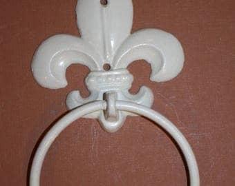 "13% OFF 8)pcs, New Orleans bathroom decor, New Orleans style bath decor, Fleur De Lis Towel Ring, cast iron, free shipping, 8 1/2"", F-25"