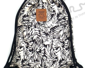 10% OFF [Origi 14.99] Tropical Backpack Leave Canvas drawstring Hip bag Festival backpack Handmade bag