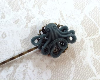 Blue Octopus And Brass Hair Clip