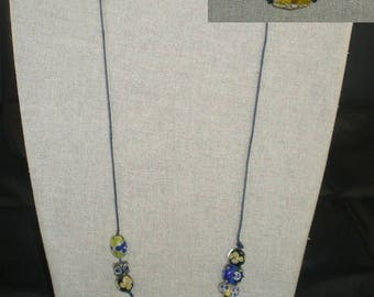Col066 - Navy Blue and yellow glass beads