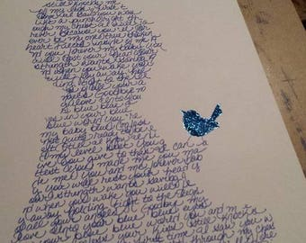 """Handwritten DMB """"Baby Blue"""" Lyric Baby - Original Drawing - NOT A Print - Only One Available - 11""""x17"""""""