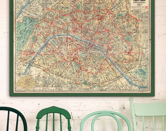 "Paris map 1923, Vintage map of Paris, 4 sizes up to 48x36"" (120x90cm) Large wall map of Hemingway Paris, France - Limited Edition of 100"