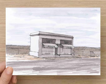 Prada Marfa Art Installation - West Texas, Architecture, Roadside Attraction, Ink Drawing, Sketch, Watercolor, Art, Pen and Ink, 5x7, 8x10