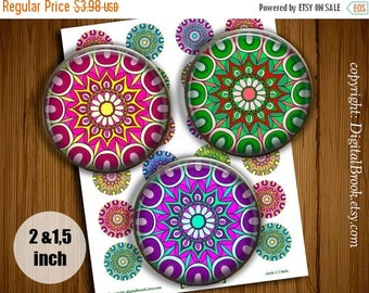 SALE 50% Digital Collage Sheet Kaleidoscope Mandala 2 inch 1.5 inch Printable circle images for Pocket Mirrors Magnets Labels - 235