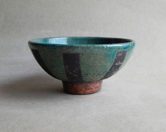 Ceramic bowl,bowl,dish, blue bowl, handmade utensils,Raku ceramics,natural,kitchen utensils,kitchen decor,bowl with ornament,pottery circle,