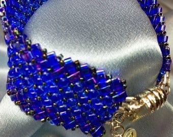 Delphinium-Herringbone Woven Beaded Bracelet