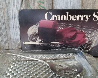 Vintage Cranberry Set by Leonard Silver Mfg No 275 in Original Box, Vintage Serving Dish